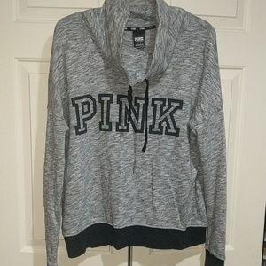 Women's PINK funnelneck sweatshirt.